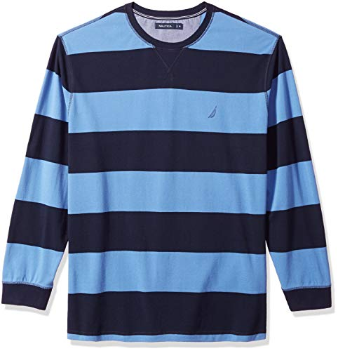 Rugby Stripe Crewneck Sweater - Nautica Men's Big and Tall Long Sleeve Rugby Stripe Crewneck Polo Shirt, Navy, 3X-Large