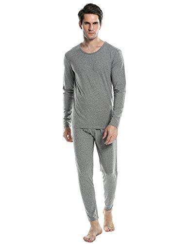ADOME Herren Fleece Gefüttert Thermounterwäsche Flauschig Garnitur Winter Basic Unterwäsche Set Nachtwäsche Hemd und Hose