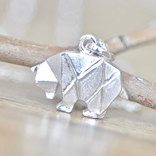 (Origami Bear Necklace in Sterling Silver with 18 Inch Chain)
