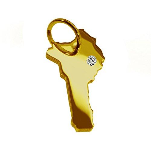bénin Pendentif avec un brillant 0.015ct dans votre souhait endroit 585or jaune