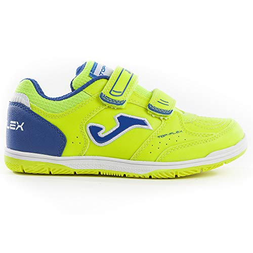 (Joma Kids Top Flex JR Indoor Soccer Shoes (4 M US Big Kid, Fluoro Yellow/Blue))