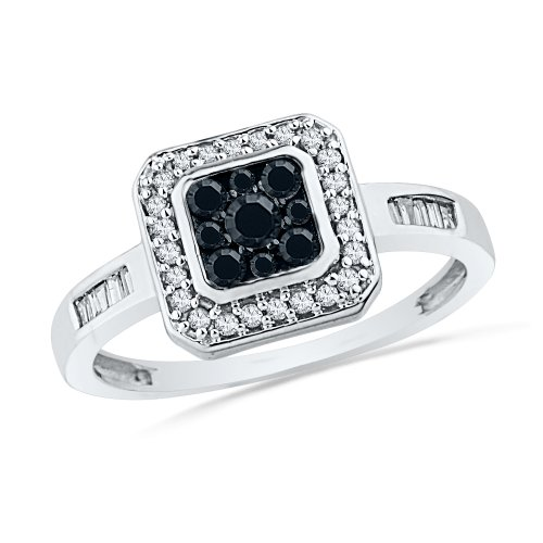 10KT White Gold Baguette and Round Diamond Black And White Square Fashion Ring (1/3 cttw)