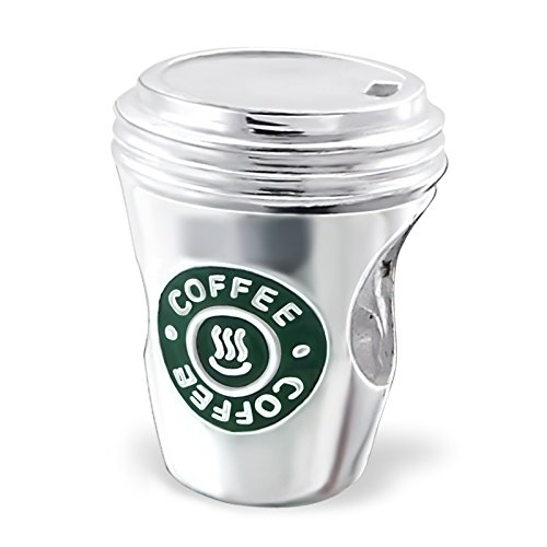 Star Bucks Coffee Cup Charm Bead - 925 Sterling Silver European Charms For Bracelets For Women - Starbucks Lovers Style Replica - Logo On Both Sides - 5mm Hole - By Silvadore UK