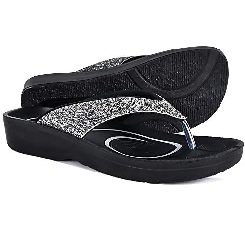 AEROTHOTIC Original Orthotic Comfort Thong Sandal and Flip Flops with Arch Support for Comfortable Walk (US Women 10, Mellow Black)