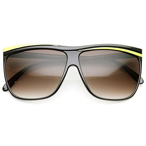 zeroUV - Neon Retro 80s Neon Flat Top Horn Rimmed Sunglasses - Ray Neon Bans Yellow