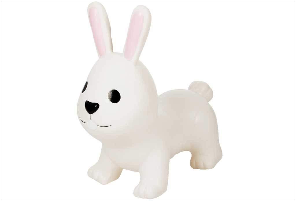 Lapin Sauteur Jumpy Bunny, Gonflable, dégonflable, en intérieur et extérieur. (Blanc)