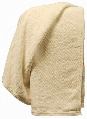 - Organic Cotton Chenille Herringbone Throw -Natural