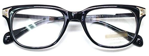 Classic Horn Rim Nerd Square Eyeglasses Spectacles Geek Clear Lens Rectangle Glasses (GlossyBlack9040, - Eyeglass Width