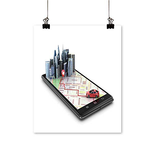 Modern Painting Mobile GPS Navigation Travel Tourism Concept View a map Mobile Phone on car Search Artwork for Home Decorations,28