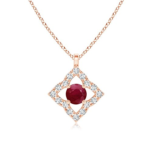 Vintage Inspired Ruby Clover Pendant in 14K Rose Gold (3mm Ruby)