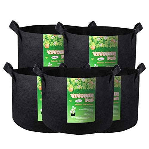 VIVOSUN 5-Pack 15 Gallon Plant Grow Bags, Premium Series Thichkened Non-Woven Aeration Fabric Pots w/Handles – Reinforced Weight Capacity & Extremely Durable (Black)