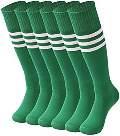 saounisi Unisex Tube Socks Stripe,6 Pairs Knee High Football Soccer Volleyball Baseball Cheerleading Team Socks