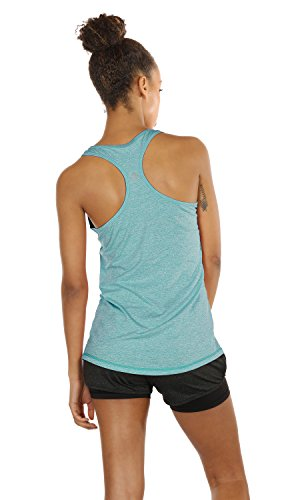 Large Product Image of icyzone Activewear Running Workouts Clothes Yoga Racerback Tank Tops for Women (M, Black/Granite/Green)