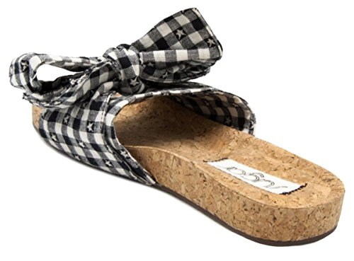 Sugar Womens Xenon Cork Flat Bow Slide Sandal Black/White Gingham iv6UC