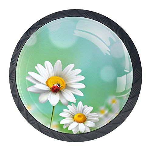 4 Pcs 35mm Daisies with Ladybug Cabinet Knobs Round Crystal Glass Drawer Handles Pull with Screws for Home, Office, Kitchen, Bathroom Cabinet, Dresser and Cupboard (1-3/8 Inches)