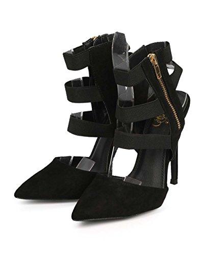 Stiletto Suede Toe Stretch Pointy Caged DH23 Black Pump Elastic L Women Miss qtwXzxUBn