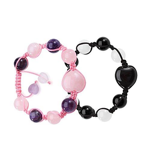Yin Yang Hearts Energy Love Couples or Best Friends Magic Black Agate White Rose Purple Quartz Bracelets