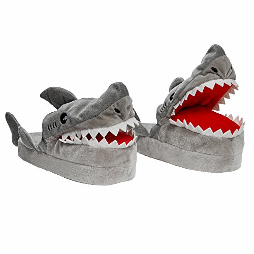 Stompeez Animated Shark Plush Slippers - Ultra Soft and Fuzzy - Mouth Opens and closes as You Walk - Medium
