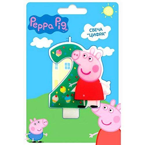 Cake Cupcake Topper Candle 2 Years Peppa Pig Baking Dessert Decorations Happy Birthday Holiday Anniversary Jubilee Party Supply Must Have Accessories for Kids Baby Shower Celebration -
