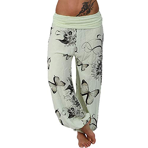 Colmkley Women Casual Butterfly Print Yoga Sweatpants Loose Wide Leg Harem Pants Yellow