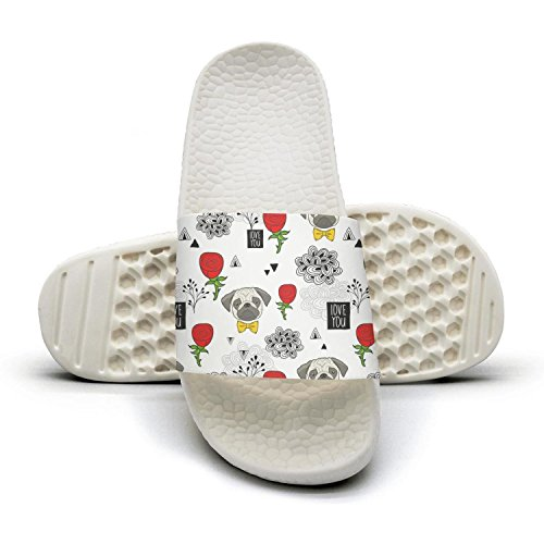cute pug dog and red rose Slippers Sandals Slippers for Men