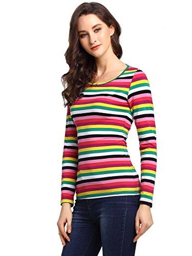 Beluring Womens Girls Ladies Long Sleeve Tops Rainbow Stripe Fall Winter T Shirt