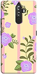 Cover It Up - Rose Large Flower Pink Stripes Lenovo K8 Plus Hard Case