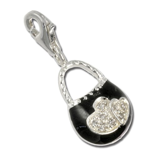 - SilberDream Charms Black Purse 925 Sterling Silver Pendant Lobster Clasp FC3030S