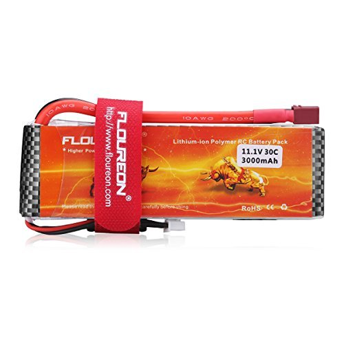 FLOUREON 3S 11.1V 3000mAh 30C LiPo RC Battery Pack with T Plug for RC Evader BX Car RC Truck RC Truggy RC Airplane UAV Drone FPV RC Helicopter(3000mah 30C)