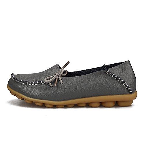 Sunrolan Cuir De Vachette Pour Femme Casual Lace-up Slipper Slip-on Mocassins Chaussures De Conduite Plates Gris