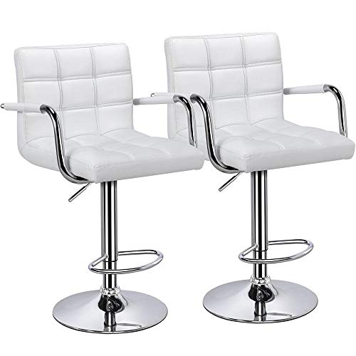 - Topeakmart 2pcs Adjustable Bar Stools Breakfast Barstool with Back and Arms Leather Swivel Barstool Chairs w/Gas Lift for Home/Kitchen/Office/Bar Use,White
