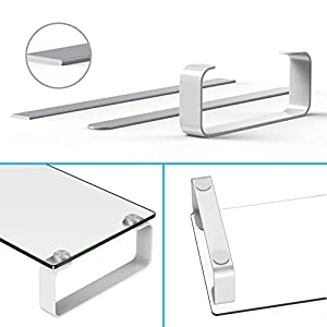 FITUEYES Tempered Glass Computer Monitor Riser TV Shelf Riser/Stand 4.7'' High 23.6'' Save Space Desktop Stand for Xbox One/component/flat Screen TV-White DT106004GW