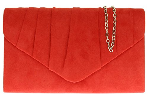 Girly HandBags Pleated Faux Party Bag Scarlet Clutch Womens Design Evening Suede SS4Twr