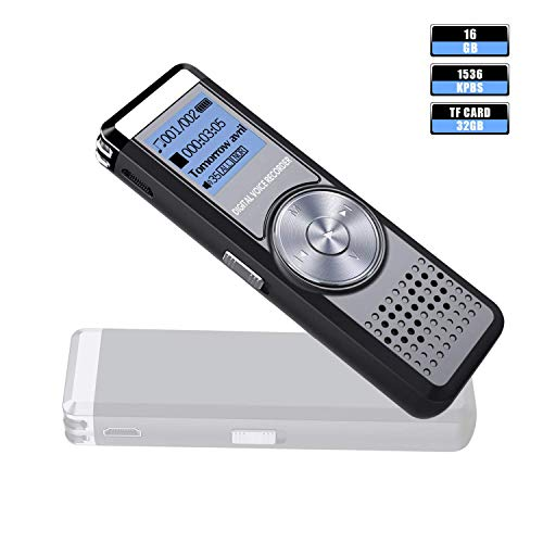 Digital Voice Recorder,16GB/1536kbps Voice Activated Recorder Rechargeable Stereo HD Audio Recording Device Portable Mini Audio Recorder for Lectures/Meetings/Interviews/Class