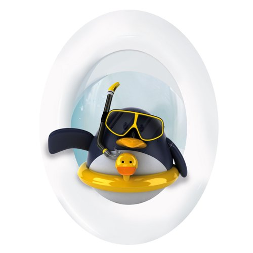 "Wandkings Toilet Lid Decal ""Penguin with Lifesaver""- 11.8 x 15.7 inch"