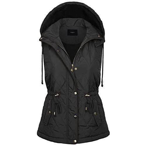 Boheny Womens Quilted Lightweight Vest with Removable Hoodie ¡¦ free shipping