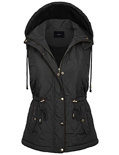 BOHENY Womens Fur Lined Lightweight Zip Up Quilted Vest with Detatachable (Down Vest Fur Hood)