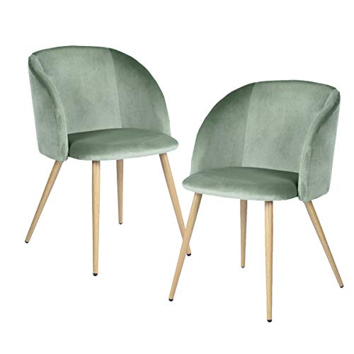 Bed Set Room Dining (EGGREE Mid-Century Accent Living Room Armchair Upholstered Velvet Leisure Club Chair Set of 2 with Solid Steel Legs Velvet Cushion for Living Room Bedroom Reception Area,Green)