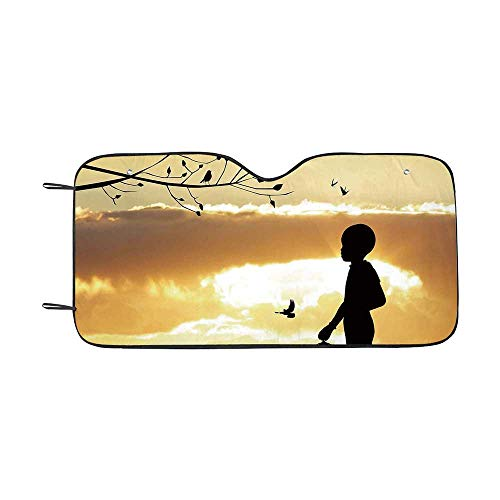 Nature Durable Car Sunshade,Little Child Silhouette with a Bird Cage at Sunset in Forest Rural Trees Birds for car,55
