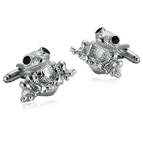 Adisaer Stainless Steel Cuff Links Mens Silver Black Toad Frog Mens Dress Shirt Cufflinks Business ()