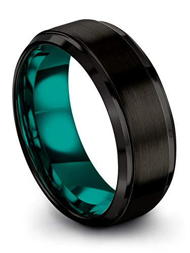 Chroma Color Collection Tungsten Carbide Wedding Band Ring 8mm for Men Women Teal Interior with Black Exterior Step Bevel Edge Brushed Polished Comfort Fit Anniversary Size 10.5