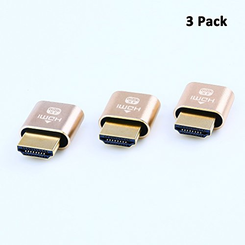 DTECH HDMI Dummy Plug 4K Display Emulator Compatible Windows Mac OSX Linux (fit-Headless, 3 Pack)