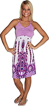Alki'i Princess Print Casual Evening Party Cocktail Halter Sun Dress - Purple L/XL