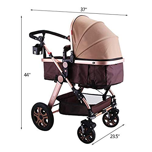 Happybuy Foldable Luxury Baby Stroller Travel System with Baby Basket Anti-Shock Springs Newborn Baby Pushchair Adjustable High View Pram Travel System Infant Carriage Pushchair (3IN1, Gold)