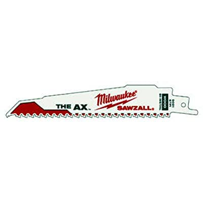 Milwaukee 48-00-5021 The Ax : 6-Inch 5/8 Teeth per Inch Sawzall Blade, 5-Pack from Milwaukee