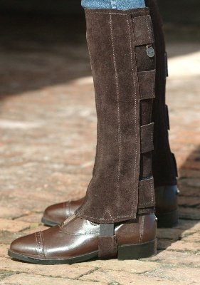 - Ovation - Child Suede Half Chaps with Tabs, Black, C 16-18