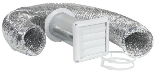 Imperial Manufacturing VT0271-A 4-Inch by 8-Foot Louvered Vent with Flexible Aluminum Ducting, Dryer Vent Kit, White Dryer Venting Kit