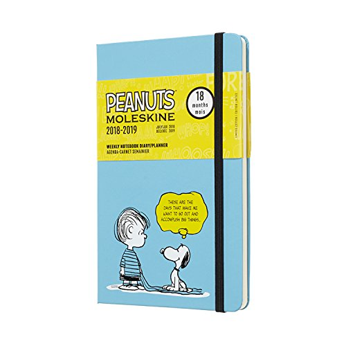 Moleskine 2018-2019 18M Limited Edition Peanuts Weekly Notebook, Large, Weekly Notebook, Blue, Hard Cover (5 x 8.25)