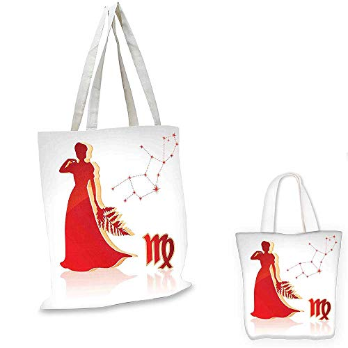 Zodiac Virgo easy shopping bag Abstract Woman Silhouette in Long Dress Horoscope Constellation pocketable shopping bag Pale Grey Vermilion Peach. - Zip Gi Double Dress