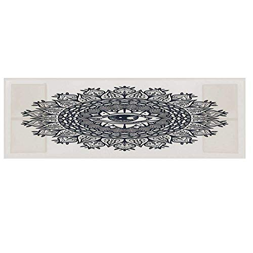 (Occult Decor Cotton & Linen Microwave Oven Protective Cover,Vintage Circular Occult Pattern Knowledge of The Hidden Third Eye Providence Symbol Cover for Kitchen,36